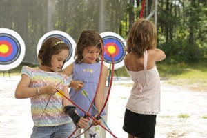 Girls at archery practice