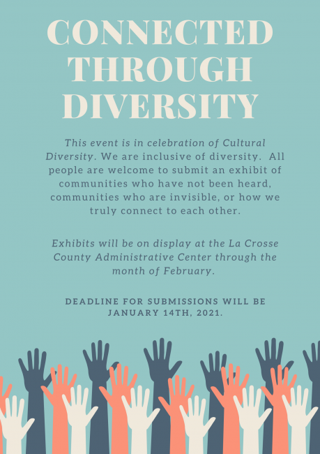 Poster Describing Connected Through Diversity Contest (details also in text on this page)